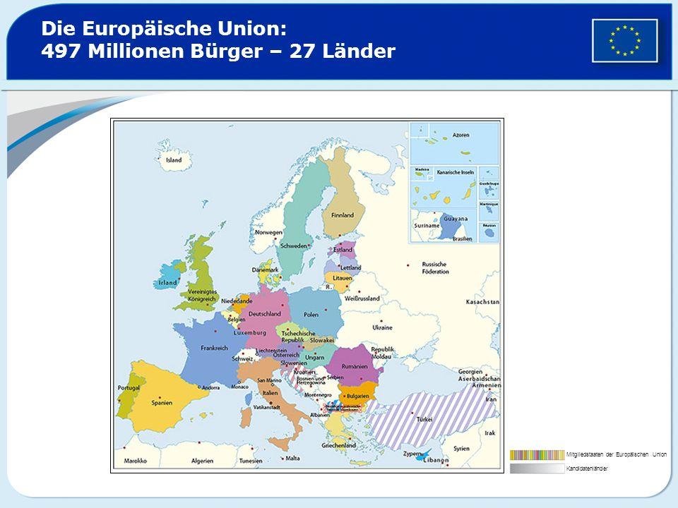 Die Europäische Union: 497 Millionen Bürger – 27 Länder Mitgliedstaaten der Europäischen Union Kandidatenländer
