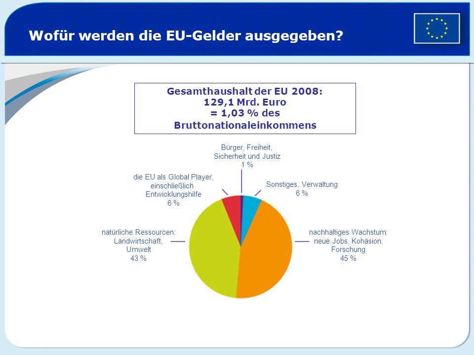 Wofür werden die EU-Gelder ausgegeben? Gesamthaushalt der EU 2008: 129,1 Mrd. Euro = 1,03 % des Bruttonationaleinkommens Bürger, Freiheit, Sicherheit