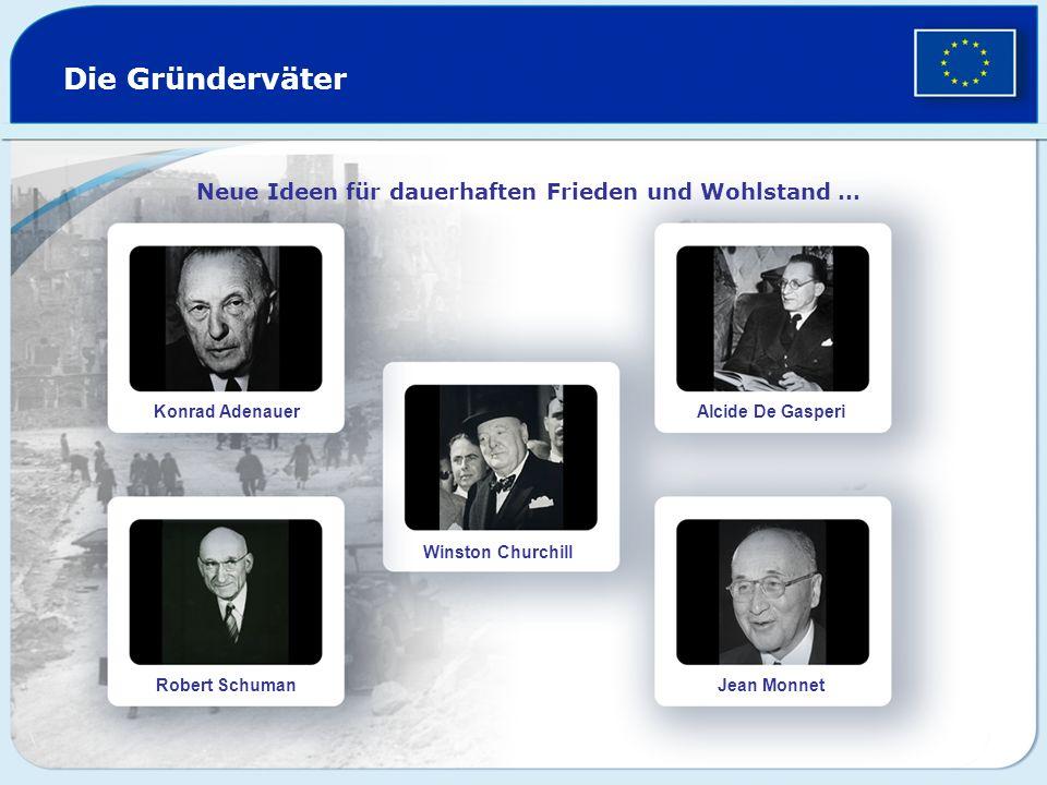 Die Gründerväter Neue Ideen für dauerhaften Frieden und Wohlstand … Konrad Adenauer Robert Schuman Winston Churchill Alcide De Gasperi Jean Monnet