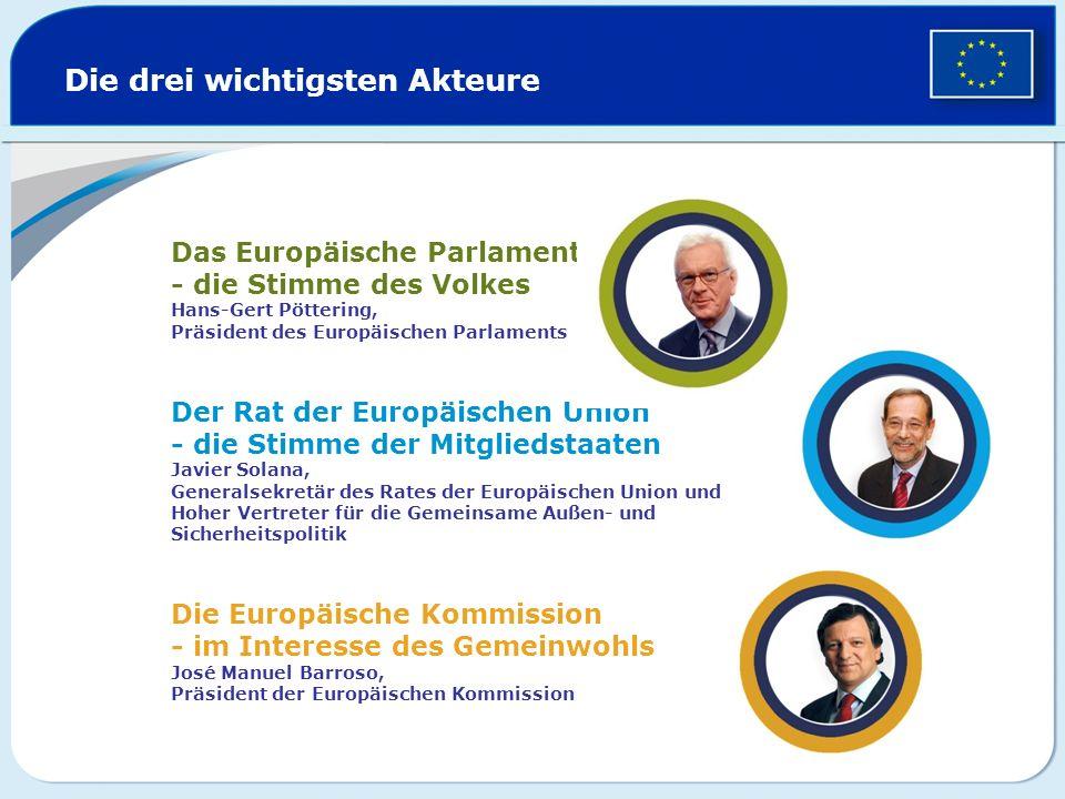 Die drei wichtigsten Akteure Das Europäische Parlament - die Stimme des Volkes Hans-Gert Pöttering, Präsident des Europäischen Parlaments Der Rat der