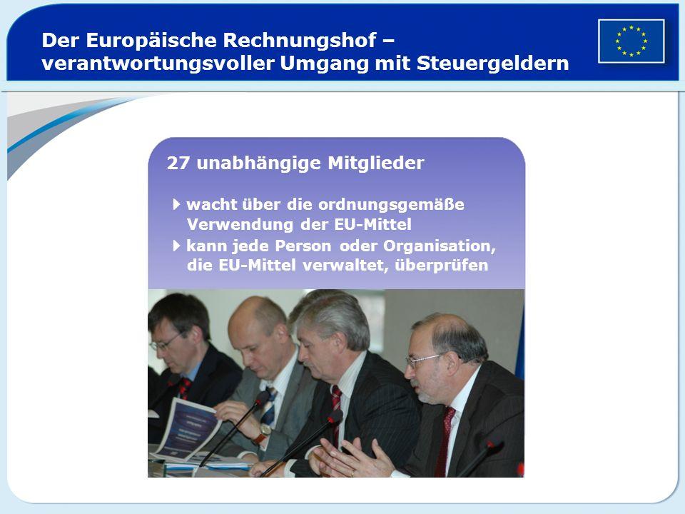 Der Europäische Rechnungshof – verantwortungsvoller Umgang mit Steuergeldern 27 unabhängige Mitglieder wacht über die ordnungsgemäße Verwendung der EU