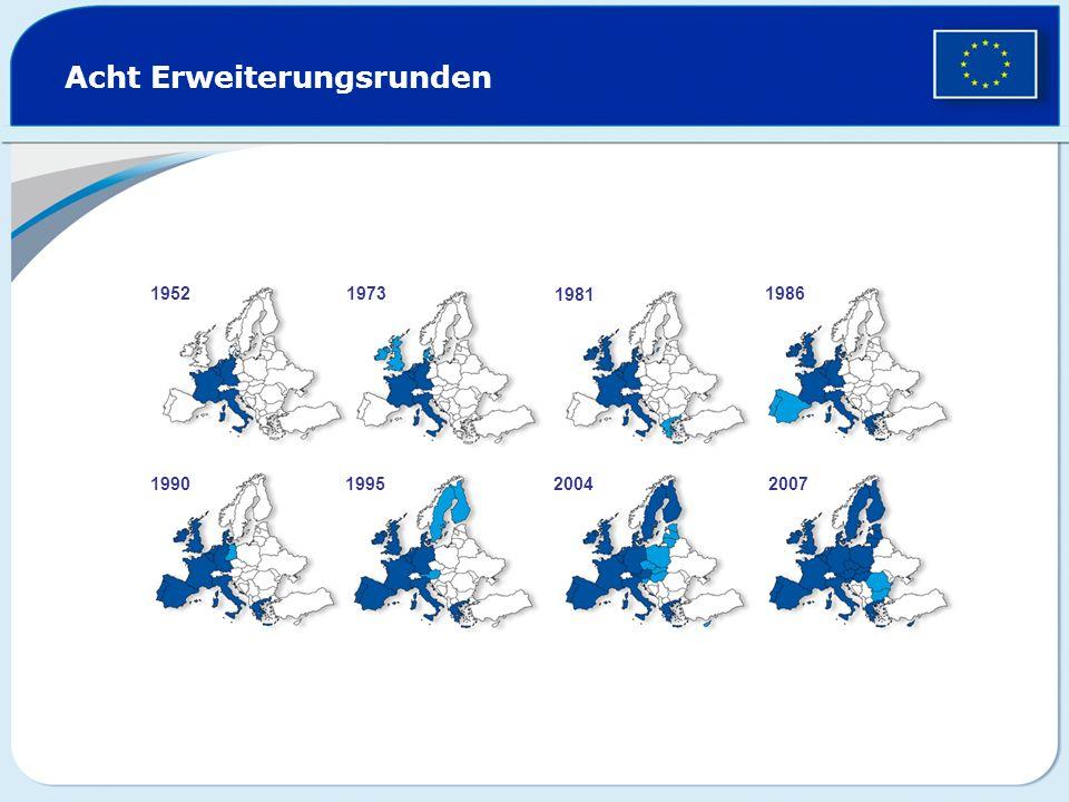 Acht Erweiterungsrunden 19521973 1981 1986 1990199520042007