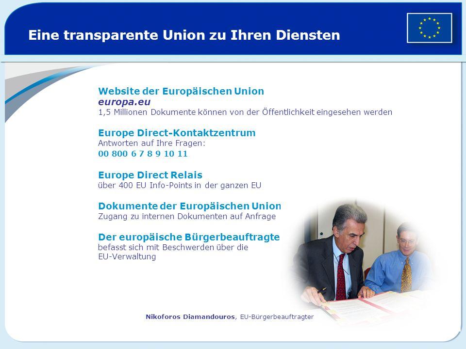 Eine transparente Union zu Ihren Diensten Website der Europäischen Union europa.eu 1,5 Millionen Dokumente können von der Öffentlichkeit eingesehen we