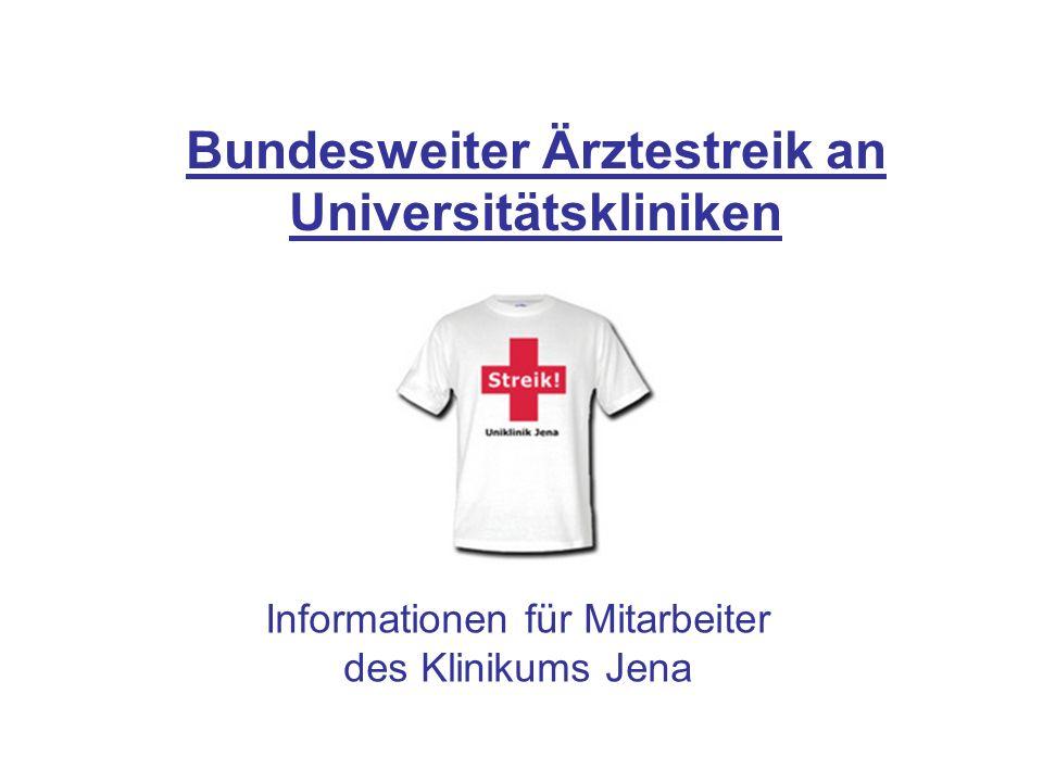Bundesweiter Ärztestreik an Universitätskliniken Informationen für Mitarbeiter des Klinikums Jena