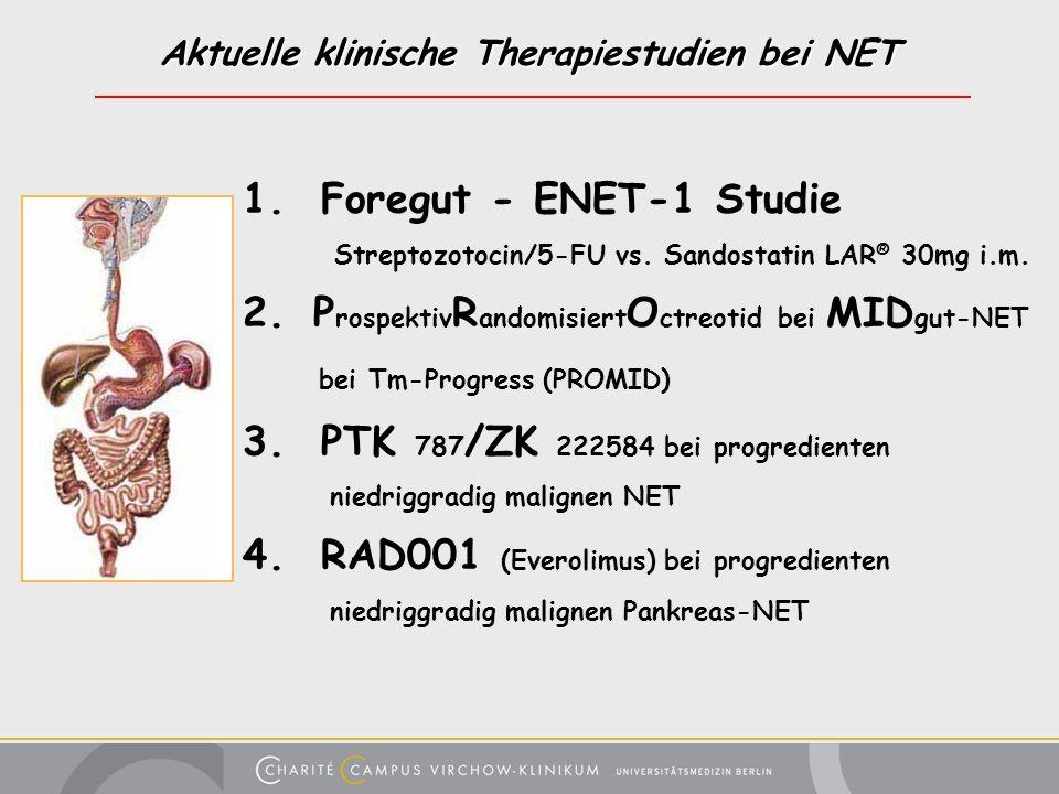 Aktuelle klinische Therapiestudien bei NET 1. Foregut - ENET-1 Studie Streptozotocin/5-FU vs. Sandostatin LAR ® 30mg i.m. 2. P rospektiv R andomisiert
