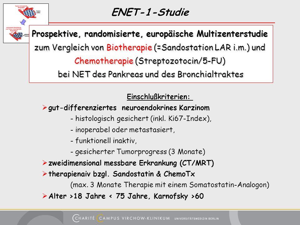 ENET-1-Studie Prospektive, randomisierte, europäische Multizenterstudie zum Vergleich von Biotherapie (=Sandostation LAR i.m.) und Chemotherapie (Stre