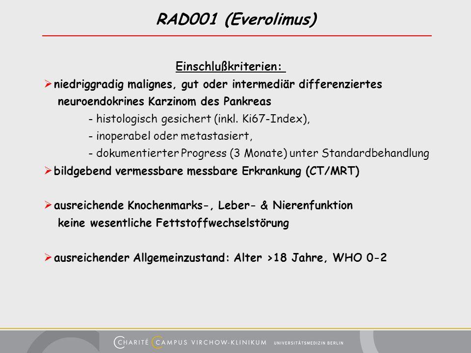 RAD001 (Everolimus) Einschlußkriterien: Einschlußkriterien: niedriggradig malignes, gut oder intermediär differenziertes neuroendokrines Karzinom des