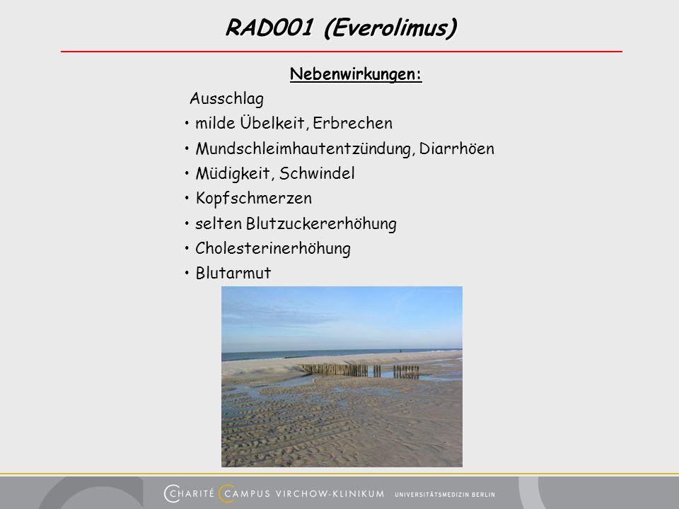 RAD001 (Everolimus) Nebenwirkungen: Nebenwirkungen: Ausschlag milde Übelkeit, Erbrechen Mundschleimhautentzündung, Diarrhöen Müdigkeit, Schwindel Kopf