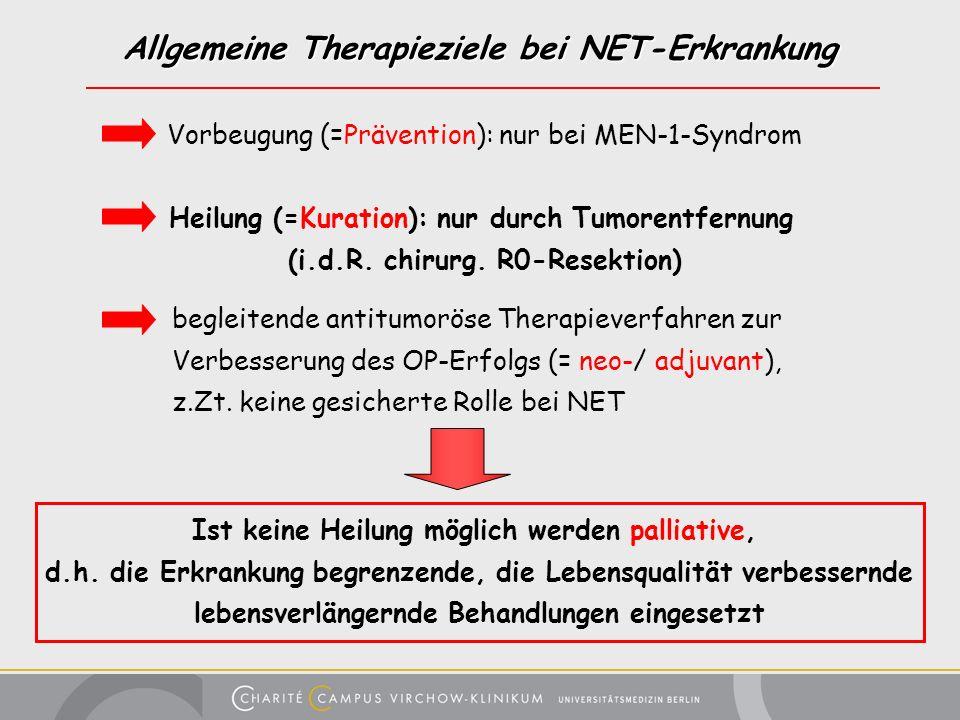 Allgemeine Therapieziele bei NET-Erkrankung Heilung (=Kuration): nur durch Tumorentfernung (i.d.R. chirurg. R0-Resektion) Vorbeugung (=Prävention): nu