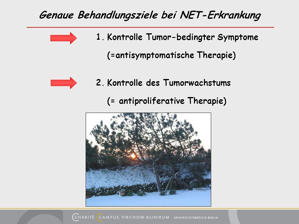 Genaue Behandlungsziele bei NET-Erkrankung 1.Kontrolle Tumor-bedingter Symptome (=antisymptomatische Therapie) 2.Kontrolle des Tumorwachstums (= antip