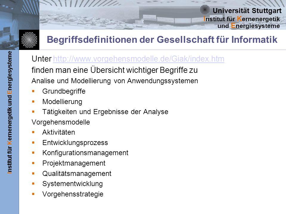 Universität Stuttgart Institut für Kernenergetik und Energiesysteme I nstitut für K ernenergetik und E nergiesysteme Begriffsdefinitionen Innerhalb des RUP existiert ein englisches Glossar in dem alle Begriffe des RUP erläutert werden.