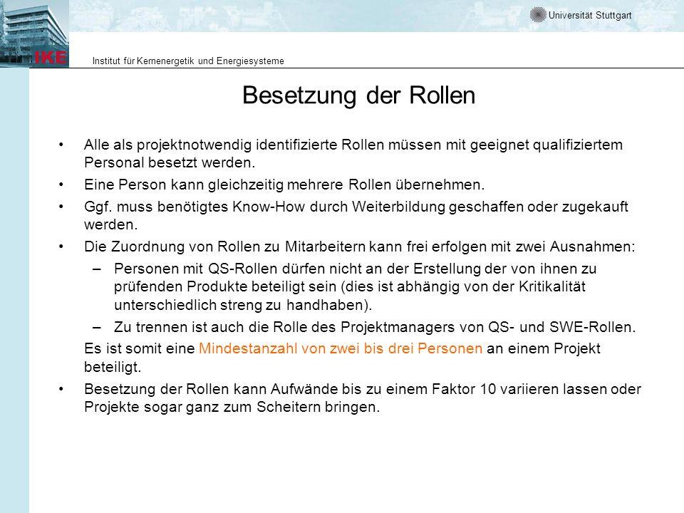 Universität Stuttgart Institut für Kernenergetik und Energiesysteme Besetzung der Rollen Alle als projektnotwendig identifizierte Rollen müssen mit ge