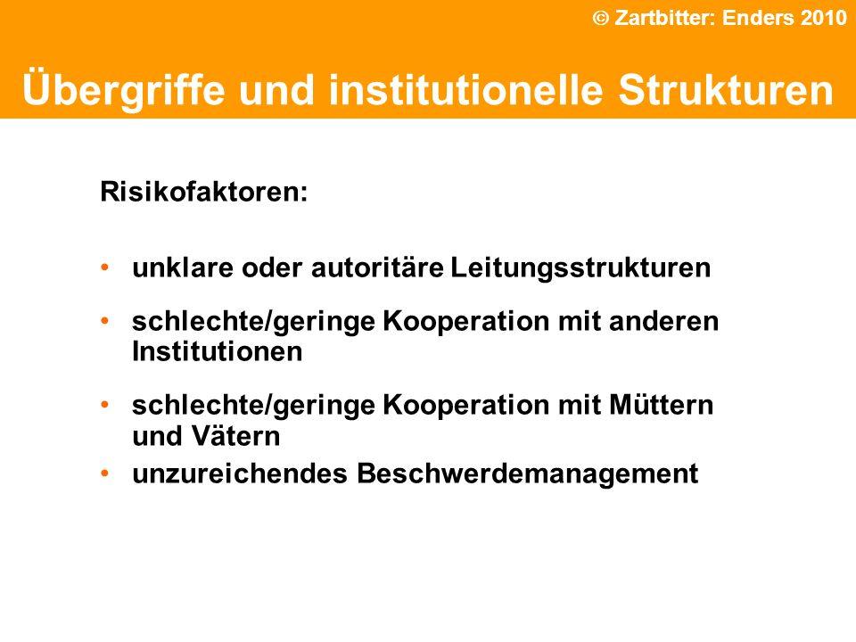 Phänomene traumatischen Erlebnissen Übergriffe und institutionelle Strukturen Zartbitter: Enders 2010 Risikofaktoren: unklare oder autoritäre Leitungs