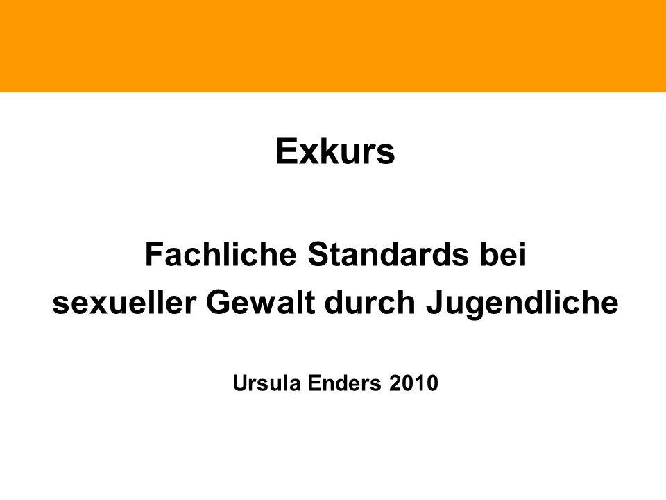 Phänomene traumatischen Erlebnissen Exkurs Fachliche Standards bei sexueller Gewalt durch Jugendliche Ursula Enders 2010