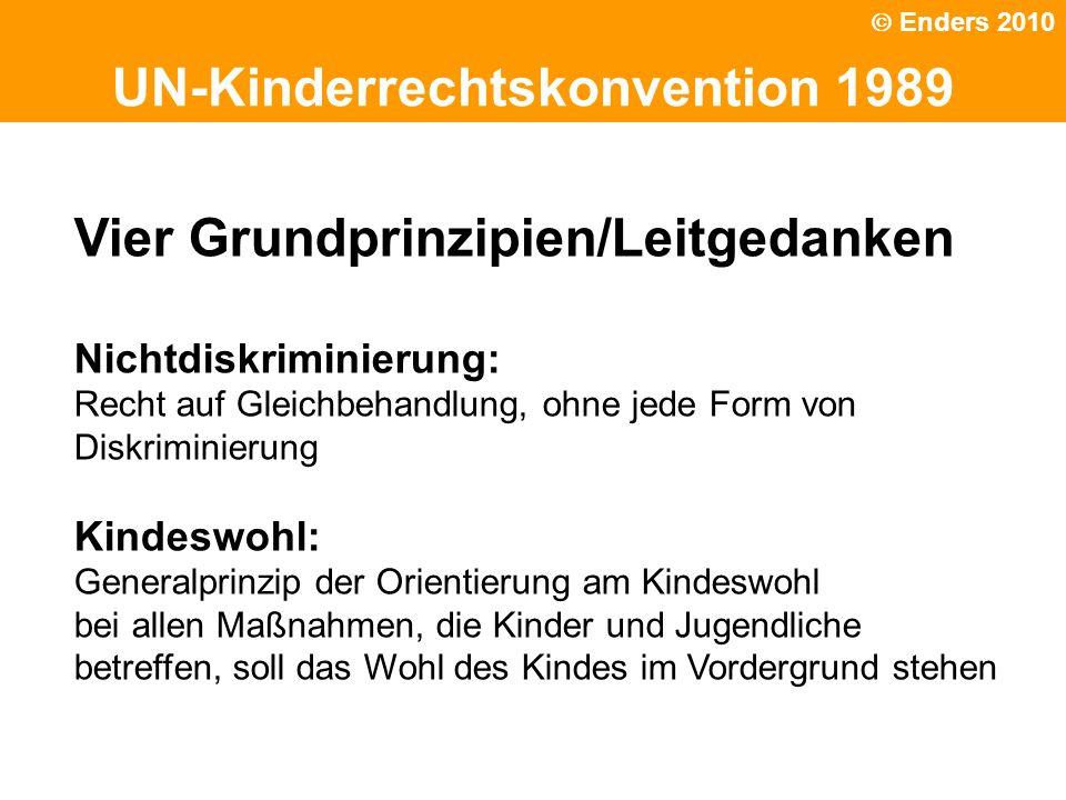 Politische Grundhaltung UN-Kinderrechtskonvention 1989 Vier Grundprinzipien/Leitgedanken Nichtdiskriminierung: Recht auf Gleichbehandlung, ohne jede F