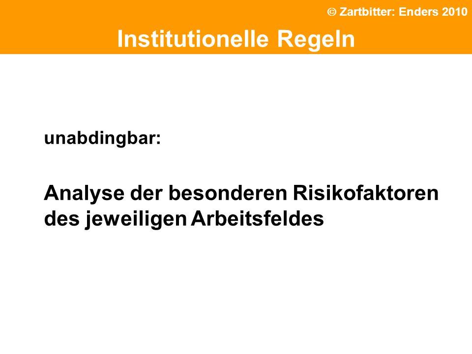 Politische Grundhaltung Institutionelle Regeln unabdingbar: Analyse der besonderen Risikofaktoren des jeweiligen Arbeitsfeldes Zartbitter: Enders 2010