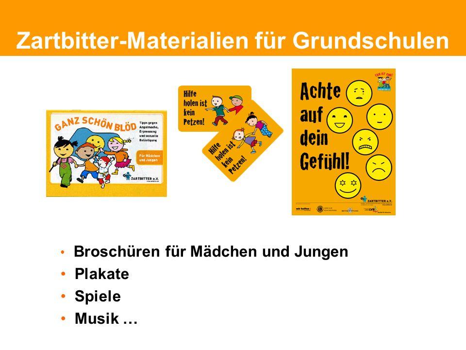Politische Grundhaltung Zartbitter-Materialien für Grundschulen Broschüren für Mädchen und Jungen Plakate Spiele Musik …