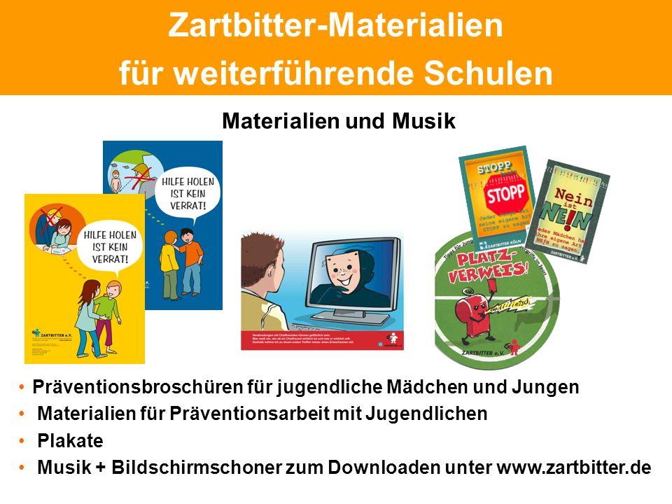 Politische Grundhaltung Zartbitter-Materialien für weiterführende Schulen Präventionsbroschüren für jugendliche Mädchen und Jungen Materialien für Prä