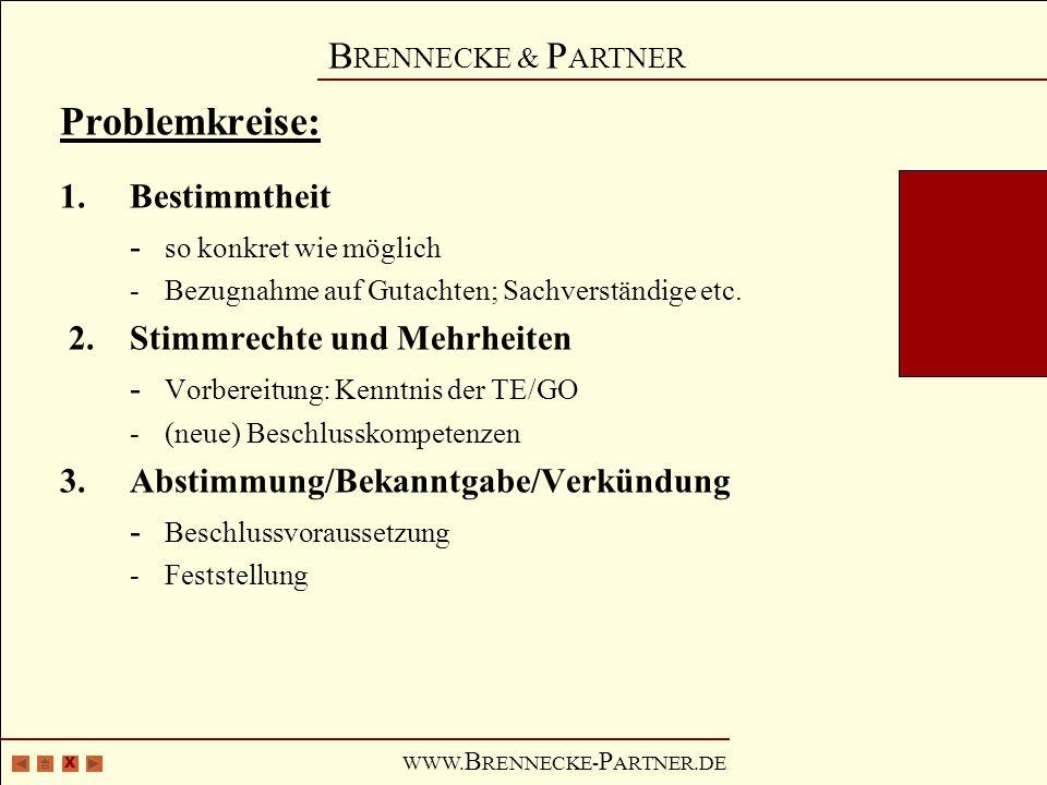 X B RENNECKE & P ARTNER WWW. B RENNECKE- P ARTNER.DE Problemkreise: 1.Bestimmtheit - so konkret wie möglich -Bezugnahme auf Gutachten; Sachverständige