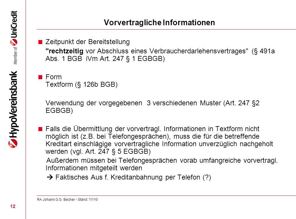Vorvertragliche Informationen Zeitpunkt der Bereitstellung