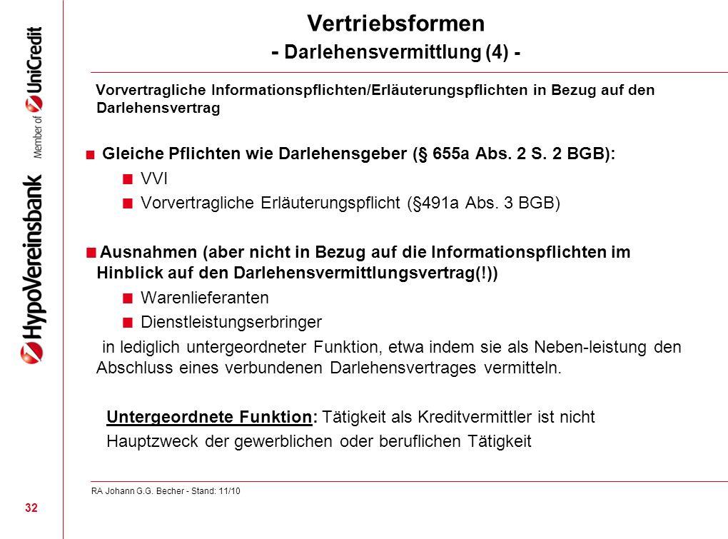 Vertriebsformen - Darlehensvermittlung (4) - Vorvertragliche Informationspflichten/Erläuterungspflichten in Bezug auf den Darlehensvertrag Gleiche Pfl