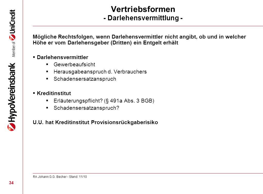 Vertriebsformen - Darlehensvermittlung - Mögliche Rechtsfolgen, wenn Darlehensvermittler nicht angibt, ob und in welcher Höhe er vom Darlehensgeber (D