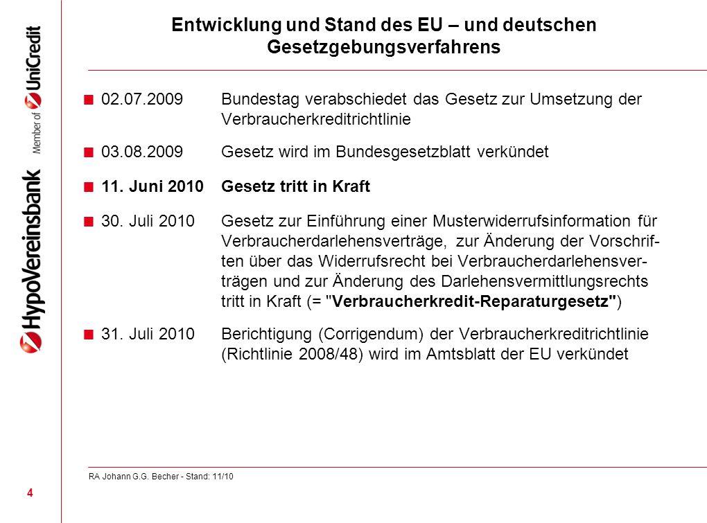 Entwicklung und Stand des EU – und deutschen Gesetzgebungsverfahrens 02.07.2009 Bundestag verabschiedet das Gesetz zur Umsetzung der Verbraucherkredit