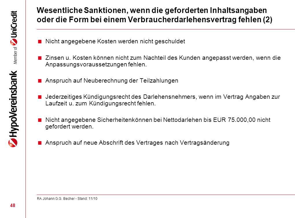 Wesentliche Sanktionen, wenn die geforderten Inhaltsangaben oder die Form bei einem Verbraucherdarlehensvertrag fehlen (2) Nicht angegebene Kosten wer