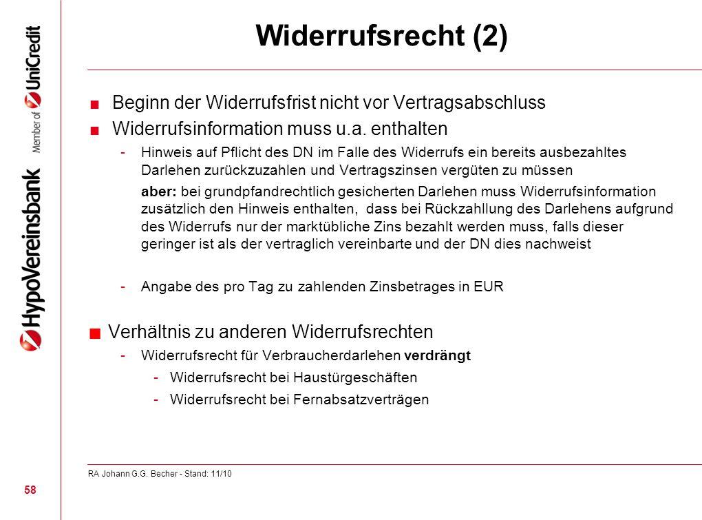 Widerrufsrecht (2) Beginn der Widerrufsfrist nicht vor Vertragsabschluss Widerrufsinformation muss u.a. enthalten -Hinweis auf Pflicht des DN im Falle