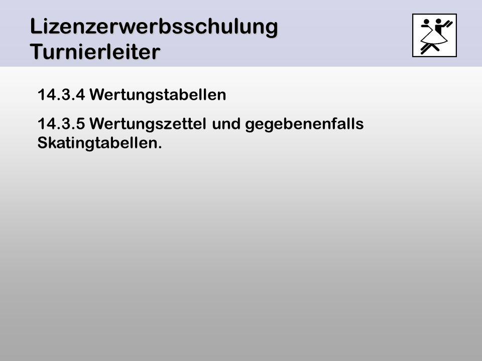Lizenzerwerbsschulung Turnierleiter 14.3.4 Wertungstabellen 14.3.5 Wertungszettel und gegebenenfalls Skatingtabellen.