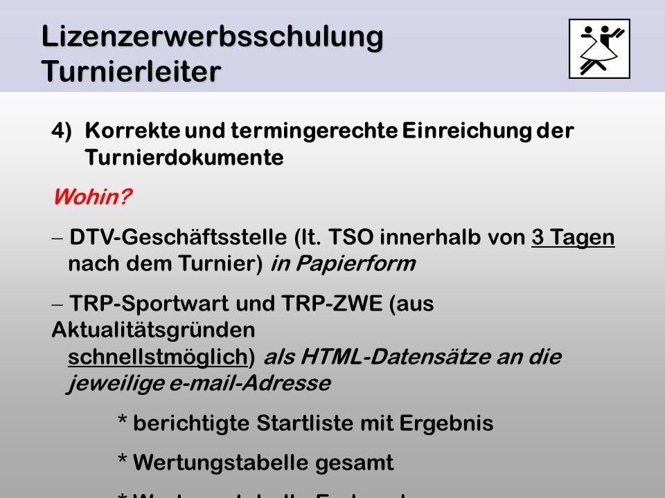 Lizenzerwerbsschulung Turnierleiter 4)Korrekte und termingerechte Einreichung der Turnierdokumente Wohin? DTV-Geschäftsstelle (lt. TSO innerhalb von 3