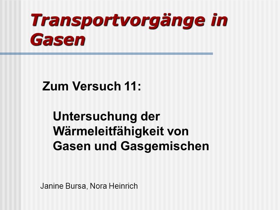 Transportvorgänge in Gasen Zum Versuch 11: Untersuchung der Wärmeleitfähigkeit von Gasen und Gasgemischen Janine Bursa, Nora Heinrich
