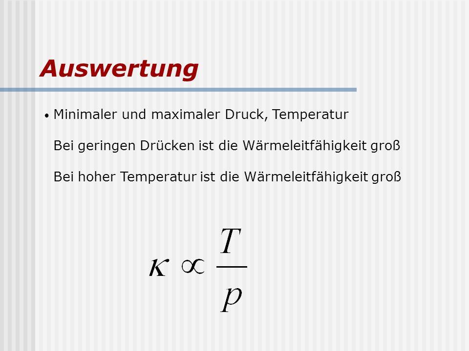 Auswertung Minimaler und maximaler Druck, Temperatur Bei geringen Drücken ist die Wärmeleitfähigkeit groß Bei hoher Temperatur ist die Wärmeleitfähigk