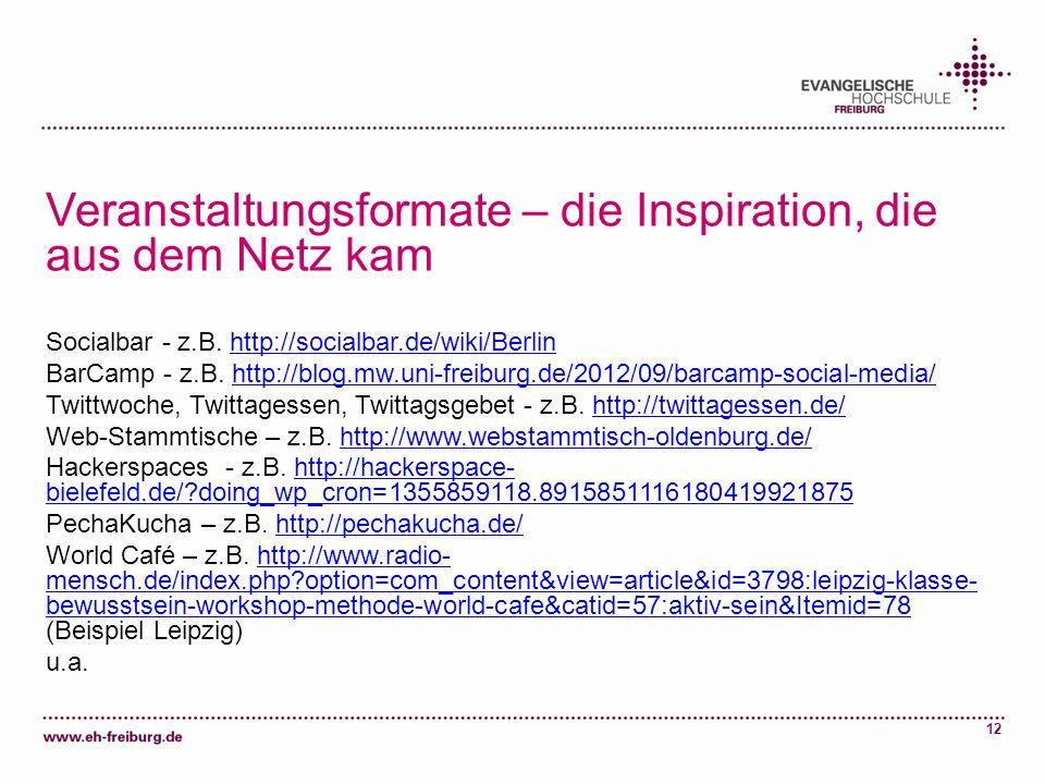 12 Veranstaltungsformate – die Inspiration, die aus dem Netz kam Socialbar - z.B. http://socialbar.de/wiki/Berlinhttp://socialbar.de/wiki/Berlin BarCa