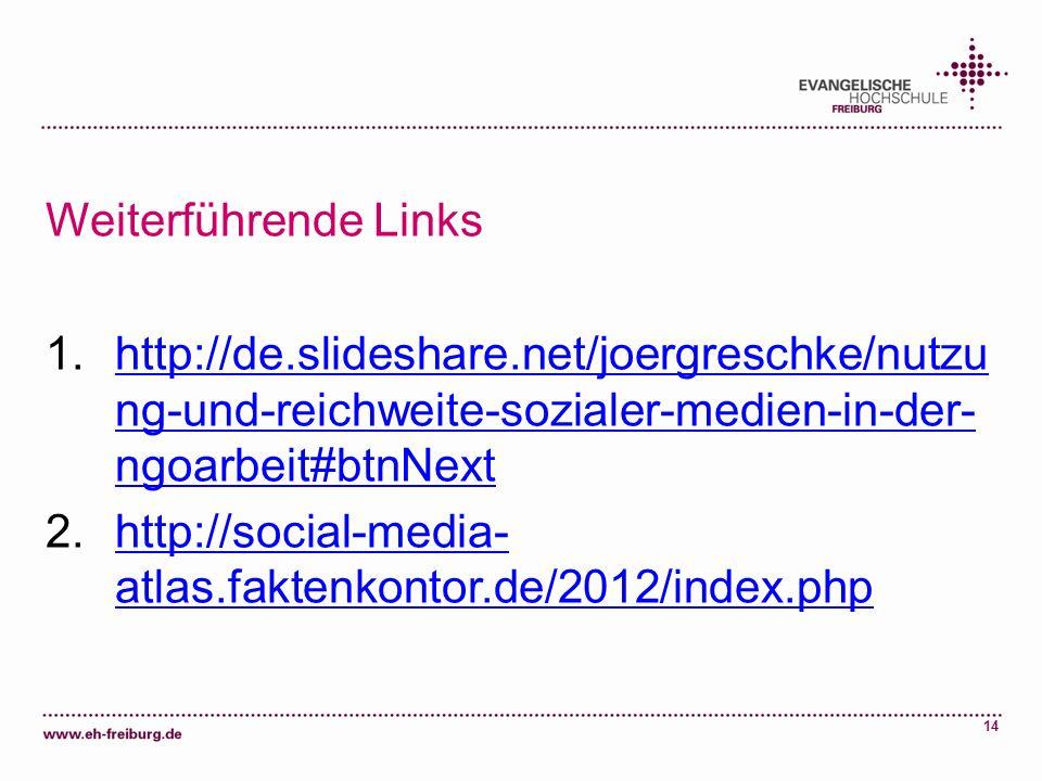 14 Weiterführende Links 1.http://de.slideshare.net/joergreschke/nutzu ng-und-reichweite-sozialer-medien-in-der- ngoarbeit#btnNexthttp://de.slideshare.