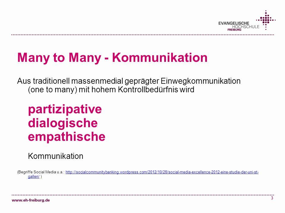 3 Many to Many - Kommunikation Aus traditionell massenmedial geprägter Einwegkommunikation (one to many) mit hohem Kontrollbedürfnis wird partizipativ