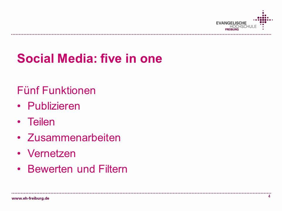 4 Social Media: five in one Fünf Funktionen Publizieren Teilen Zusammenarbeiten Vernetzen Bewerten und Filtern