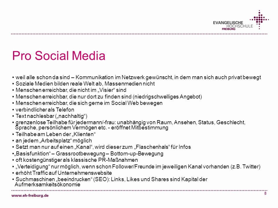 8 Pro Social Media weil alle schon da sind – Kommunikation im Netzwerk gewünscht, in dem man sich auch privat bewegt Soziale Medien bilden reale Welt