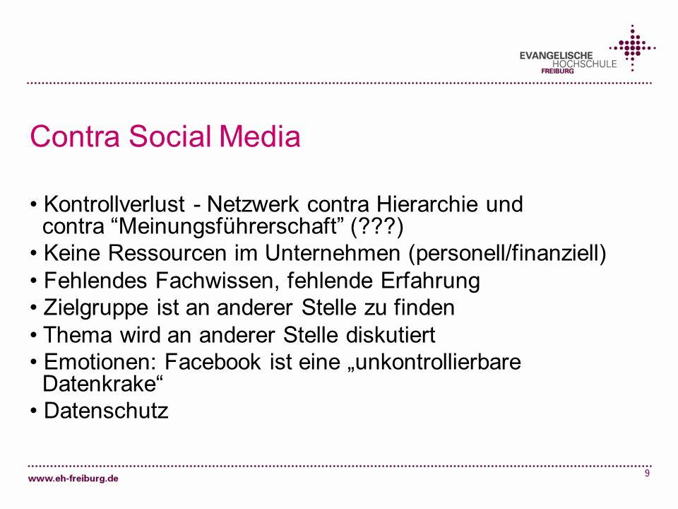 9 Contra Social Media Kontrollverlust - Netzwerk contra Hierarchie und contra Meinungsführerschaft (???) Keine Ressourcen im Unternehmen (personell/fi