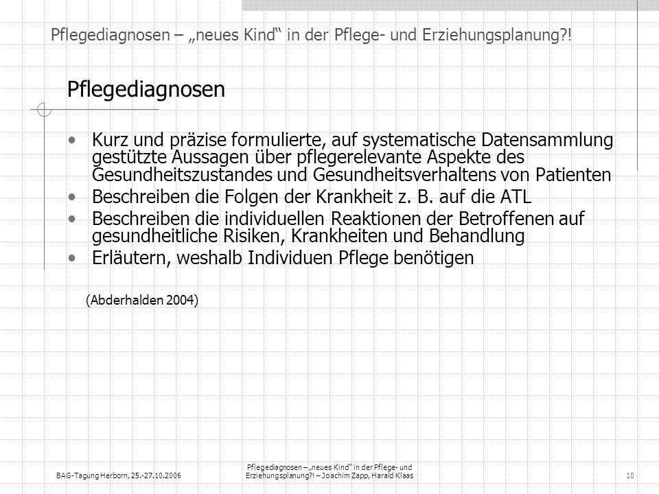 BAG-Tagung Herborn, 25.-27.10.2006 Pflegediagnosen – neues Kind in der Pflege- und Erziehungsplanung?! – Joachim Zapp, Harald Klaas10 Pflegediagnosen
