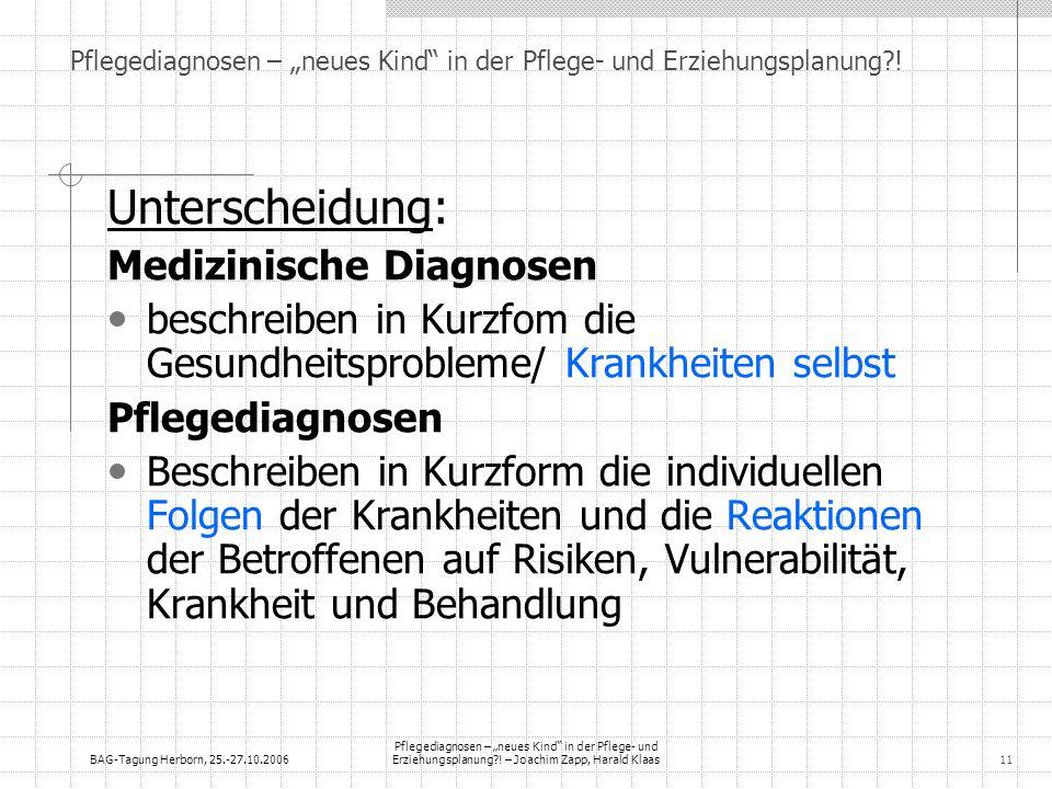 BAG-Tagung Herborn, 25.-27.10.2006 Pflegediagnosen – neues Kind in der Pflege- und Erziehungsplanung?! – Joachim Zapp, Harald Klaas11 Pflegediagnosen