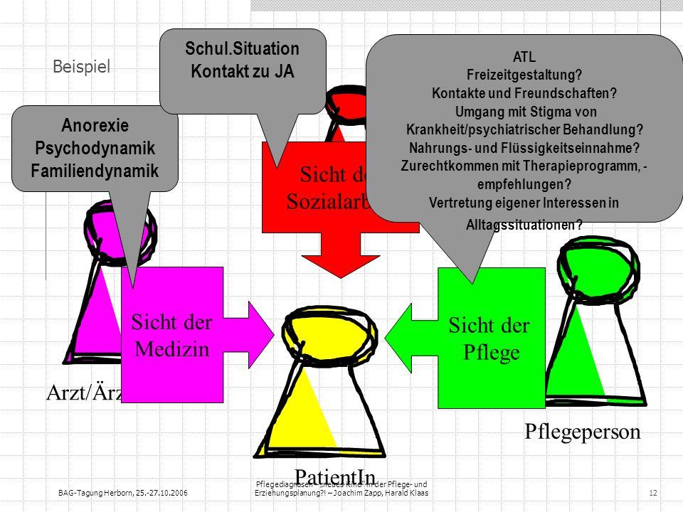 BAG-Tagung Herborn, 25.-27.10.2006 Pflegediagnosen – neues Kind in der Pflege- und Erziehungsplanung?! – Joachim Zapp, Harald Klaas12 Beispiel Arzt/Är