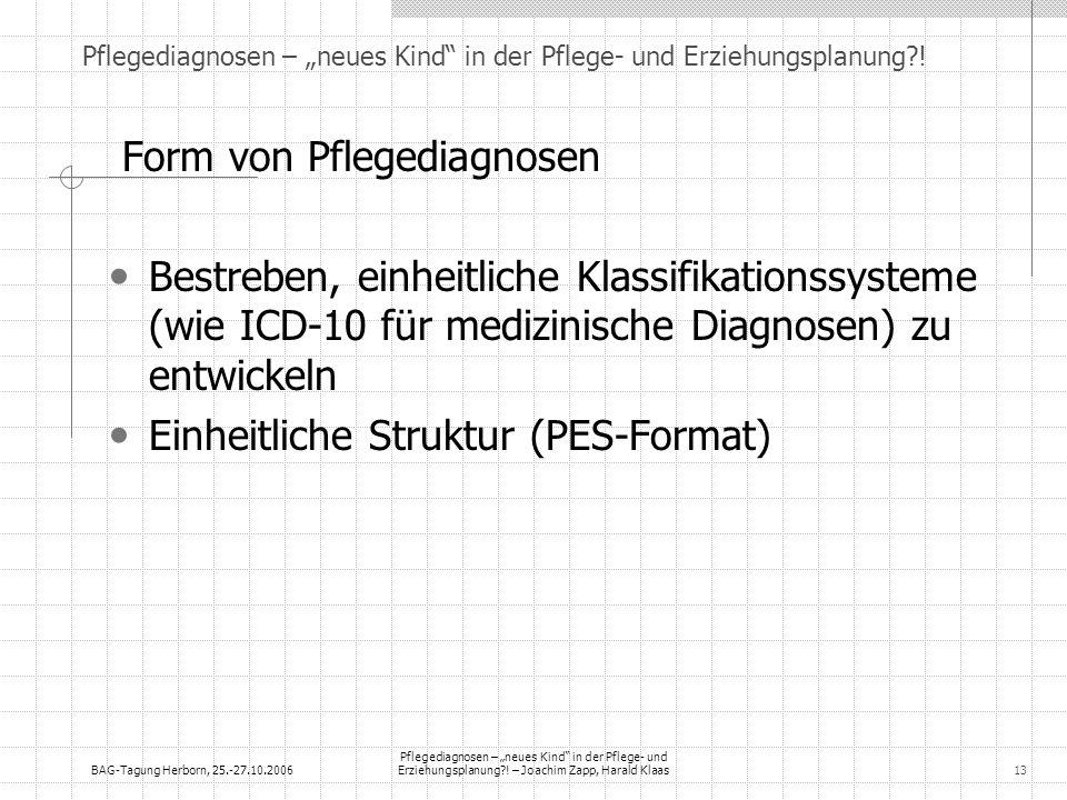 BAG-Tagung Herborn, 25.-27.10.2006 Pflegediagnosen – neues Kind in der Pflege- und Erziehungsplanung?! – Joachim Zapp, Harald Klaas13 Pflegediagnosen