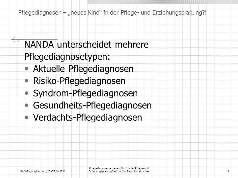 BAG-Tagung Herborn, 25.-27.10.2006 Pflegediagnosen – neues Kind in der Pflege- und Erziehungsplanung?! – Joachim Zapp, Harald Klaas19 NANDA unterschei