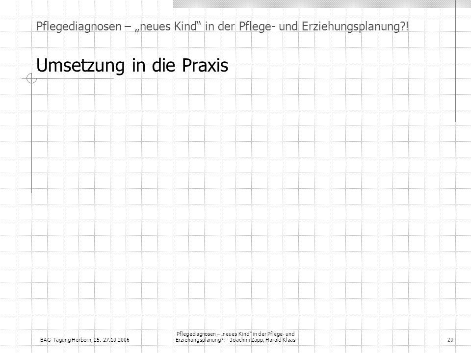 BAG-Tagung Herborn, 25.-27.10.2006 Pflegediagnosen – neues Kind in der Pflege- und Erziehungsplanung?! – Joachim Zapp, Harald Klaas20 Pflegediagnosen
