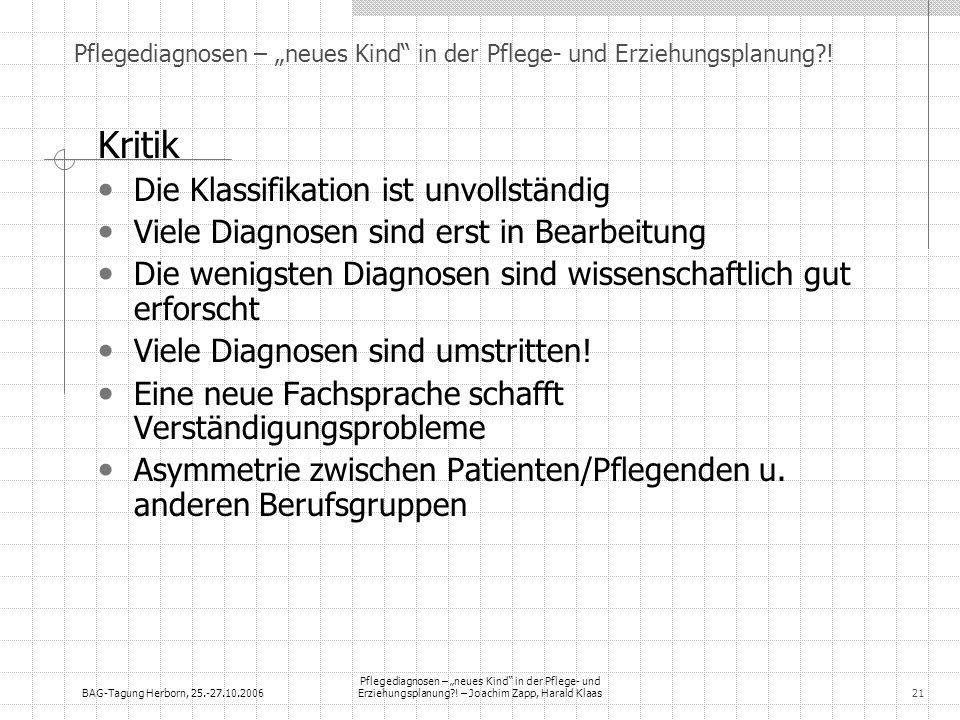 BAG-Tagung Herborn, 25.-27.10.2006 Pflegediagnosen – neues Kind in der Pflege- und Erziehungsplanung?! – Joachim Zapp, Harald Klaas21 Pflegediagnosen