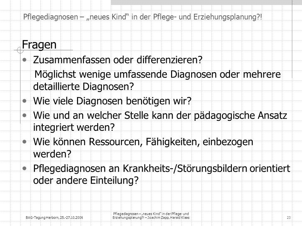 BAG-Tagung Herborn, 25.-27.10.2006 Pflegediagnosen – neues Kind in der Pflege- und Erziehungsplanung?! – Joachim Zapp, Harald Klaas23 Fragen Zusammenf
