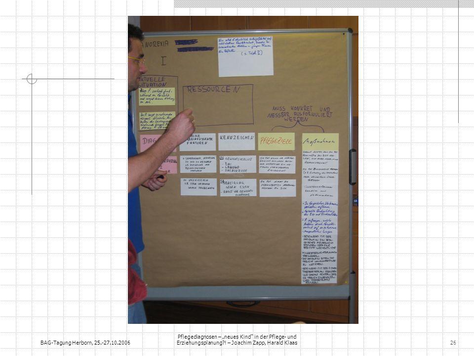 BAG-Tagung Herborn, 25.-27.10.2006 Pflegediagnosen – neues Kind in der Pflege- und Erziehungsplanung?! – Joachim Zapp, Harald Klaas26