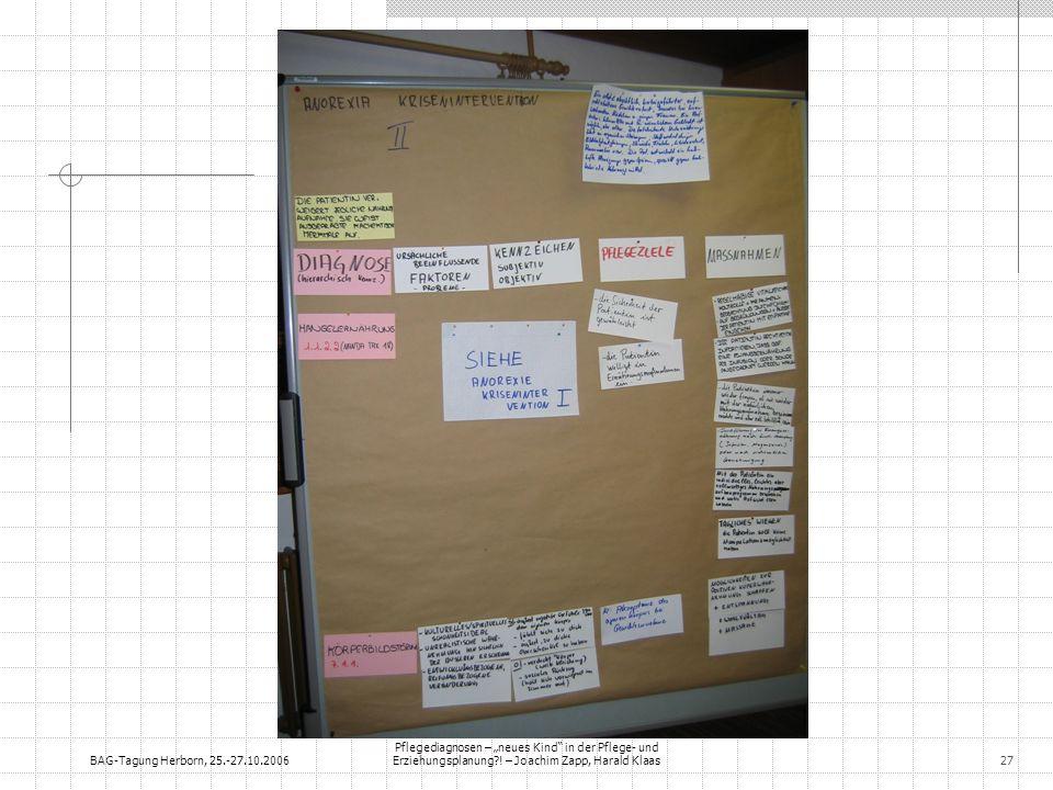 BAG-Tagung Herborn, 25.-27.10.2006 Pflegediagnosen – neues Kind in der Pflege- und Erziehungsplanung?! – Joachim Zapp, Harald Klaas27