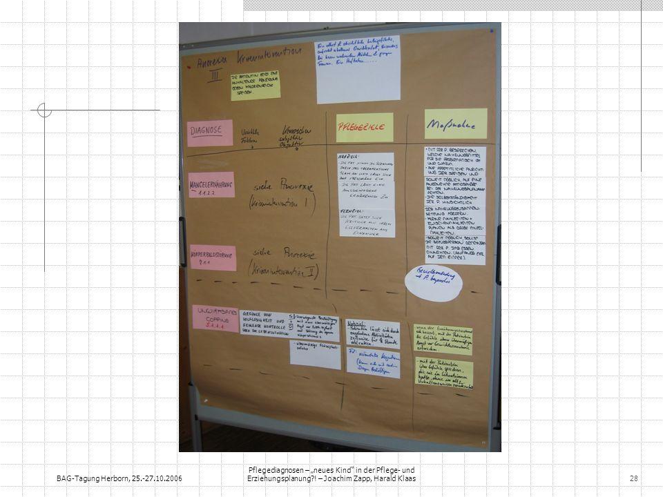 BAG-Tagung Herborn, 25.-27.10.2006 Pflegediagnosen – neues Kind in der Pflege- und Erziehungsplanung?! – Joachim Zapp, Harald Klaas28